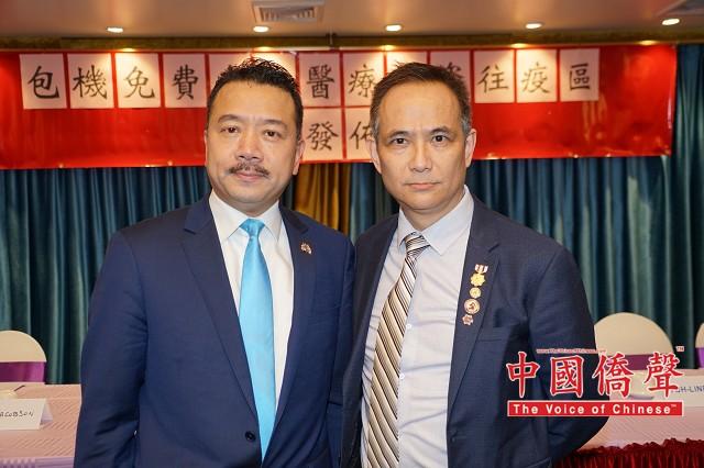 唯一红酒、经典纽约啤酒公司总裁江锦鑫先生(右),美国闽台总商会会长、美国福建侨联总会主席陈键榕(左)。